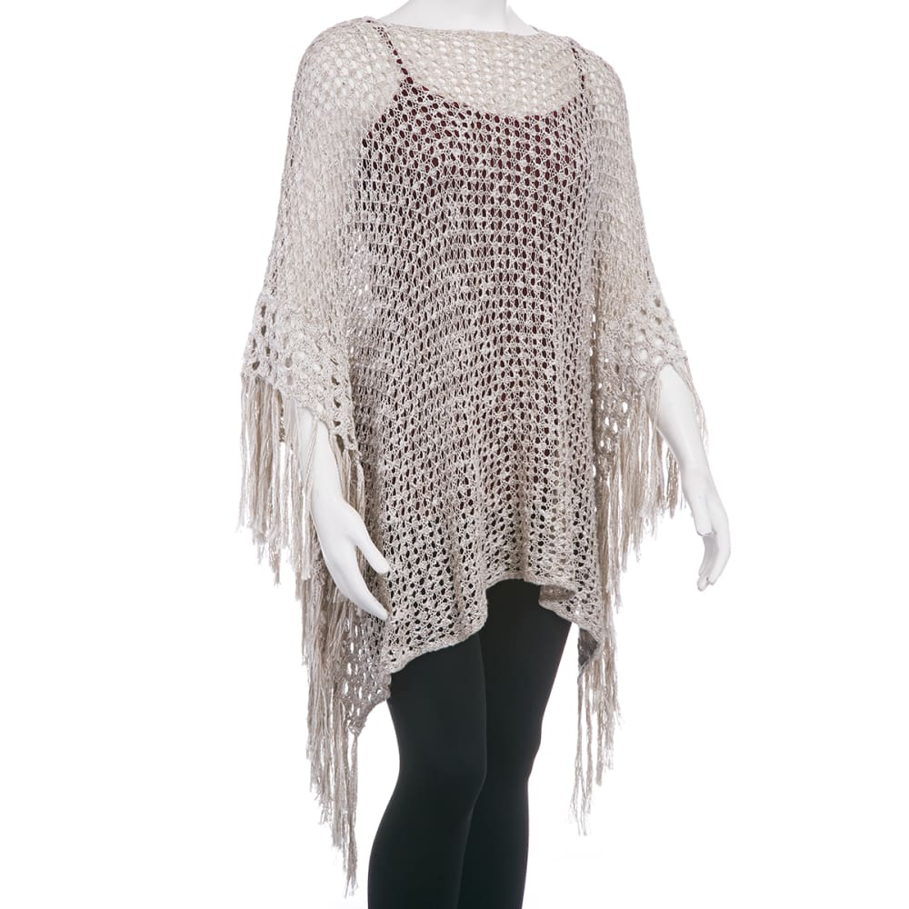TAYLOR & SAGE Juniors' Fringe Open Weave Poncho - HEATHER OATMEAL