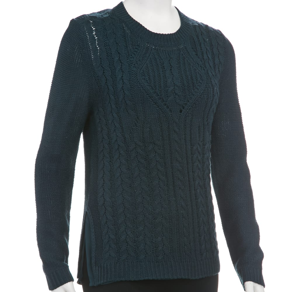 TAYLOR & SAGE Juniors' Cable Woven 2fer Lined Sweater - GREEN