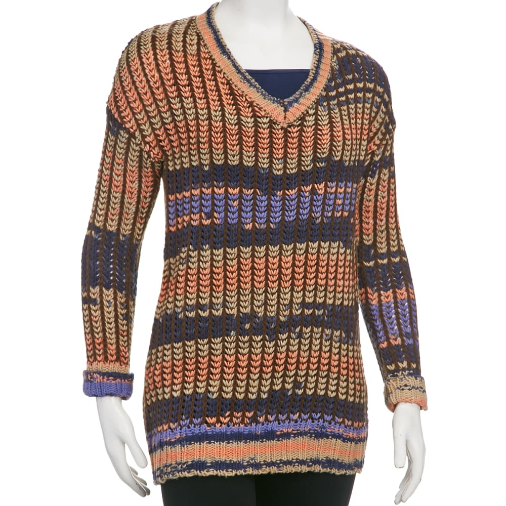 TAYLOR & SAGE Juniors' Multi Stripe V-Neck Tunic Sweater - ANCHOR BLUE