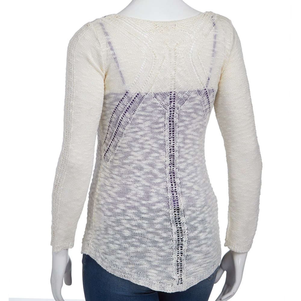 PINK ROSE Juniors' Slub Pointelle Crochet Stitch Shirt - CREAM