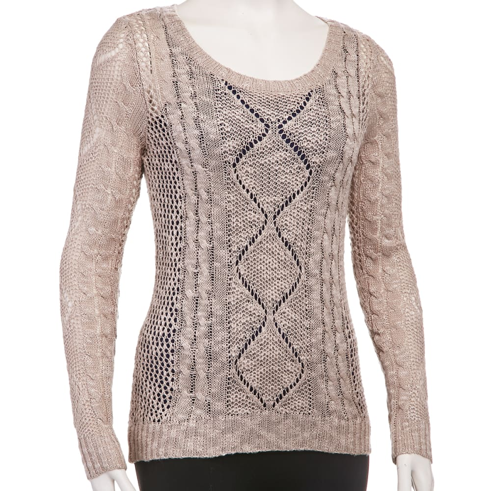 PINK ROSE Juniors' Open Knit Cable Sweater - LATTE