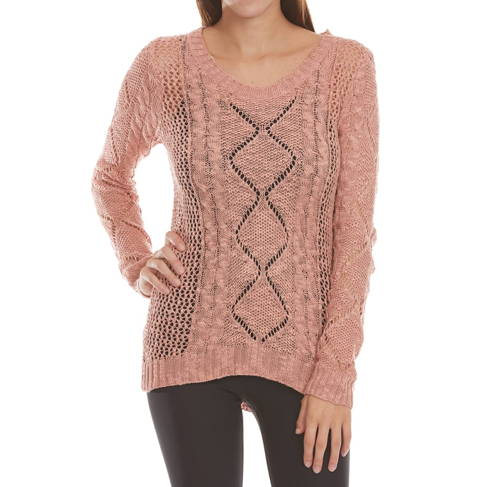 PINK ROSE Juniors' Open Knit Cable Sweater - VELVETEEN