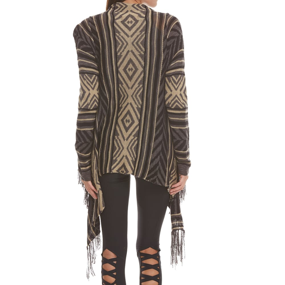 PINK ROSE Juniors' Aztec Fringe Hem Cardigan - BLACK DISTRESSED