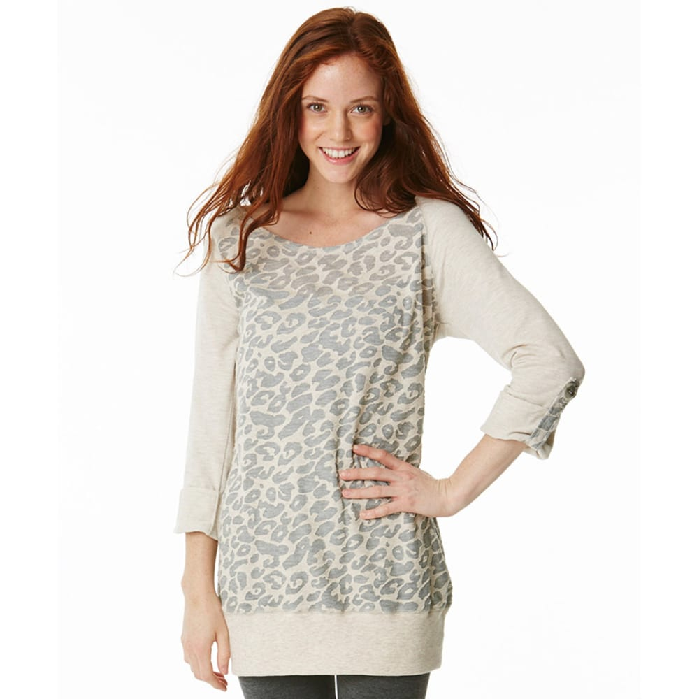 MISCHEVIOUS Juniors' French Terry Burnout Print Tunic - OATMEAL