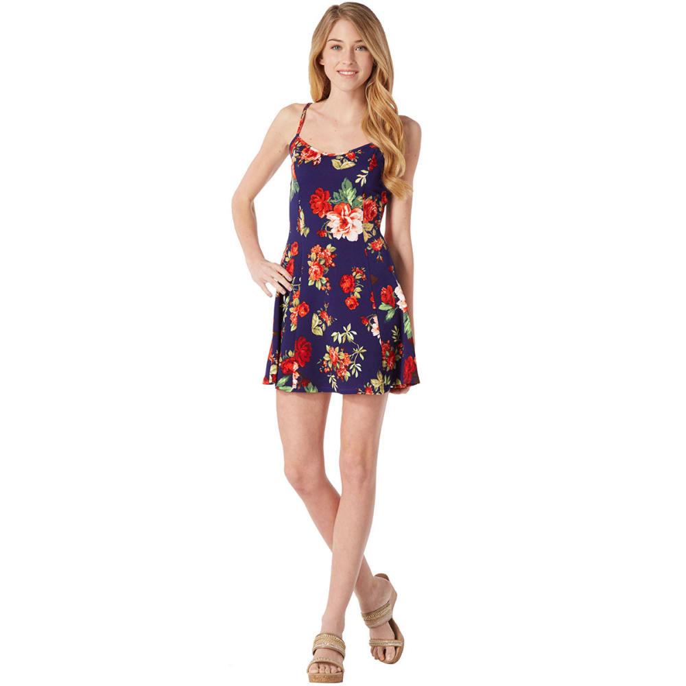 AMBIANCE Juniors' Floral Print Skater Dress - NAVY