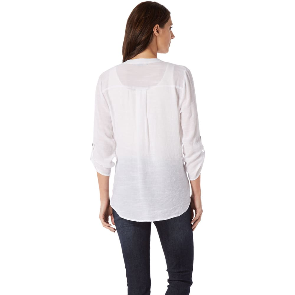 ABSOLUTELY FAMOUS Women's Tie Front Woven Top - WHITE