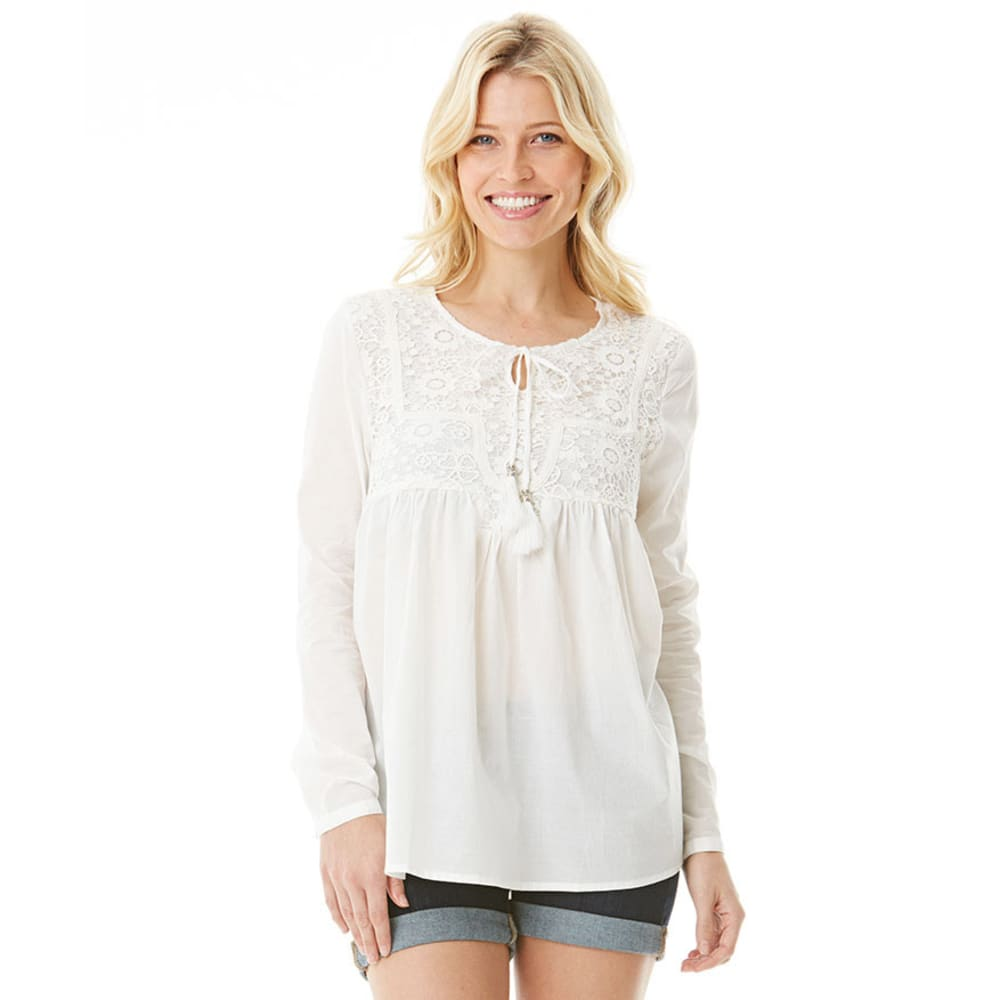 EARL JEANS Women's Voile Top with Crochet Overlay - IVORY