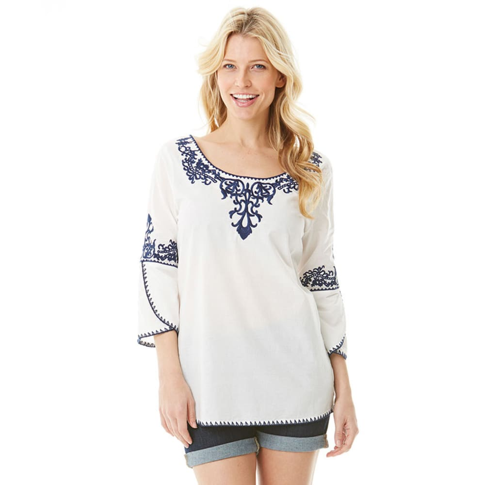 EARL JEANS Women's Scoop Neck Embroidered Peasant Top - WHITE/NAVY