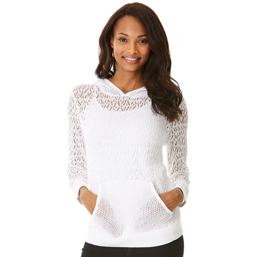 ISABELLA 1/2S CLOSET Women's Pointelle Kanga Pocket Hoodie -  - WHITE