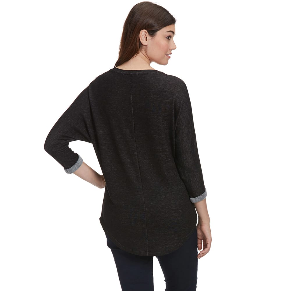 FEMME Women's Slouchy V-Neck ¾ Sleeve Shirt - BLACK