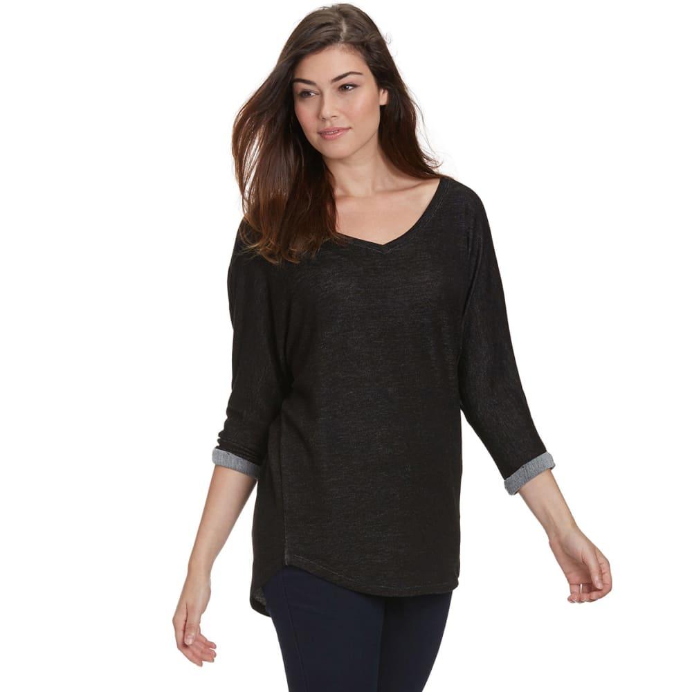 FEMME Women's Slouchy V-Neck ¾ Sleeve Shirt - BLACK