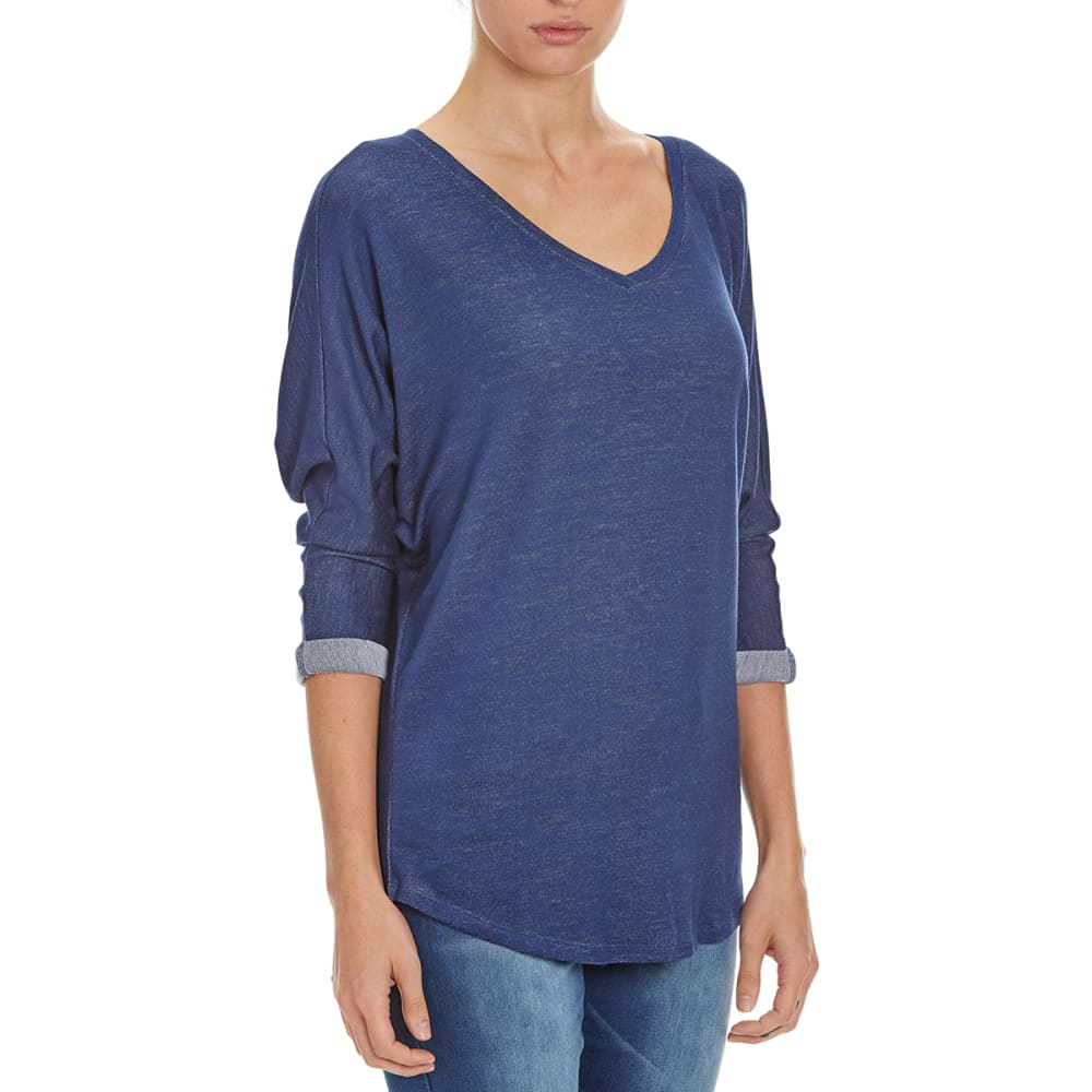 FEMME Women's Slouchy V-Neck ¾ Sleeve Shirt - NOON BLUE