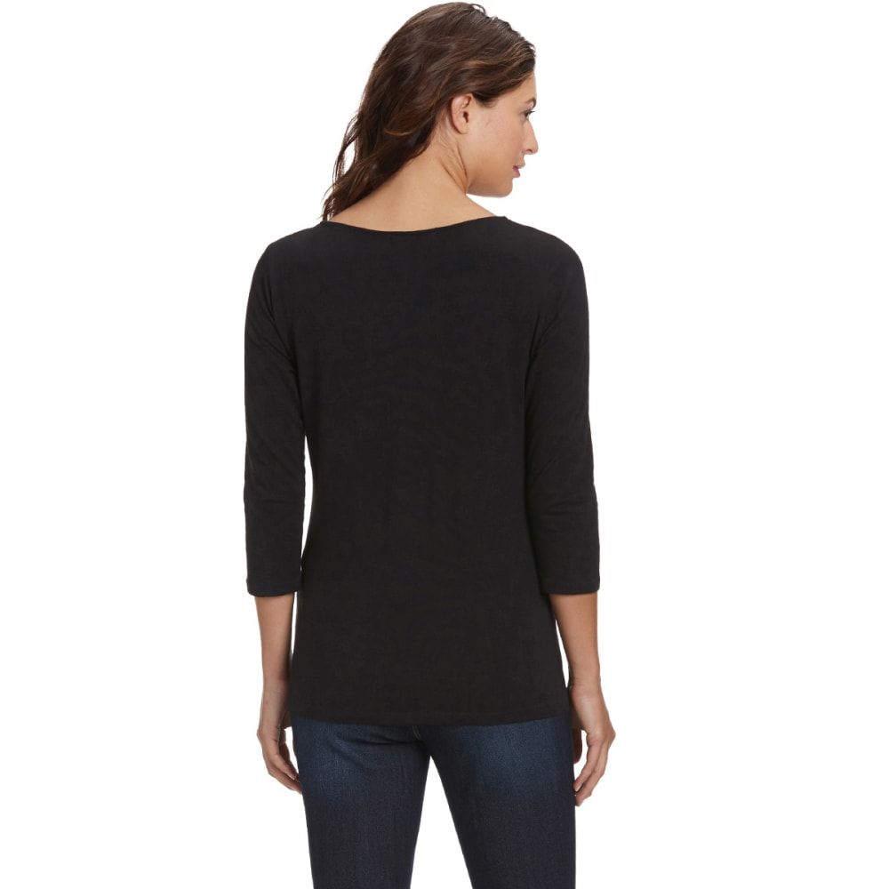 FEMME Women's Basic 3/4 Sleeve Tee - BLACK