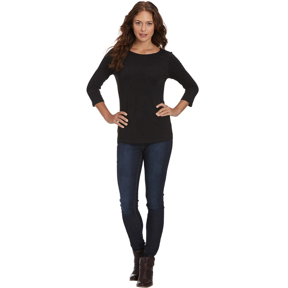 FEMME Women's Basic 3/4 Sleeve Tee - BLACK
