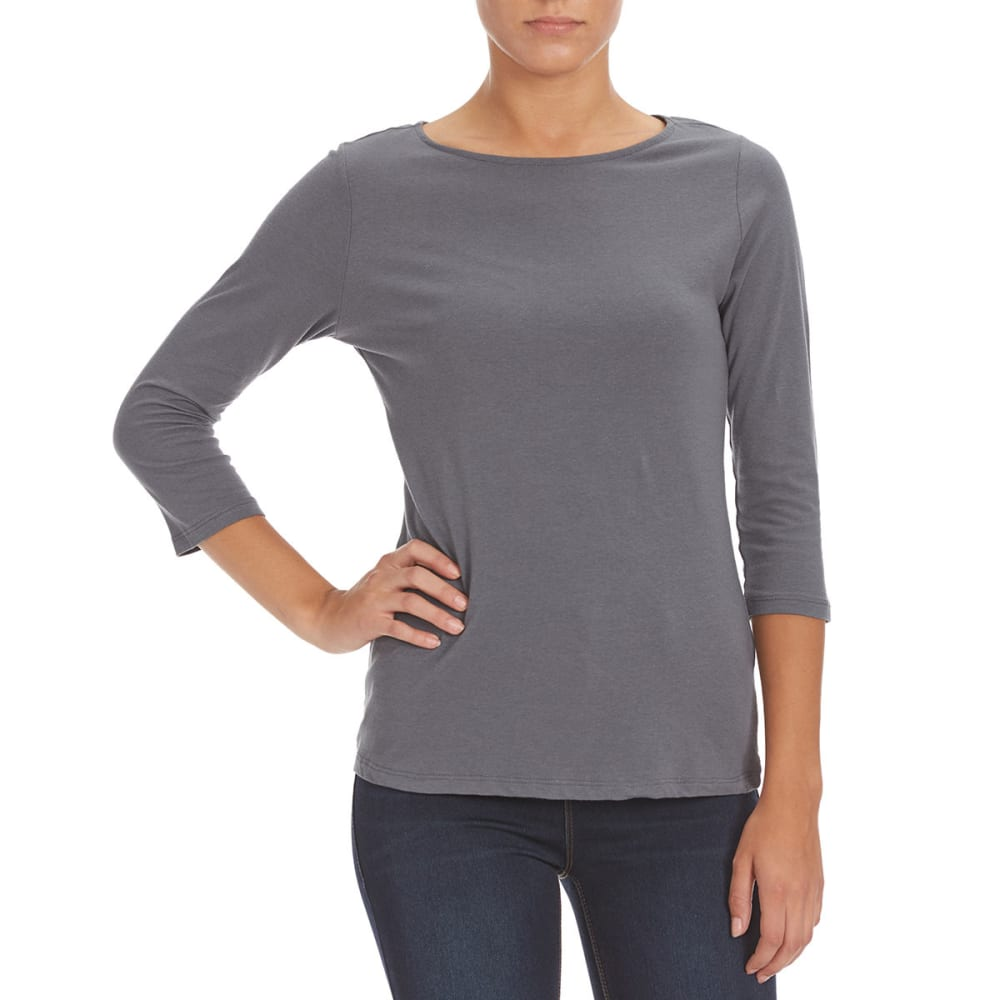 FEMME Women's Basic 3/4 Sleeve Tee - CHARCOAL