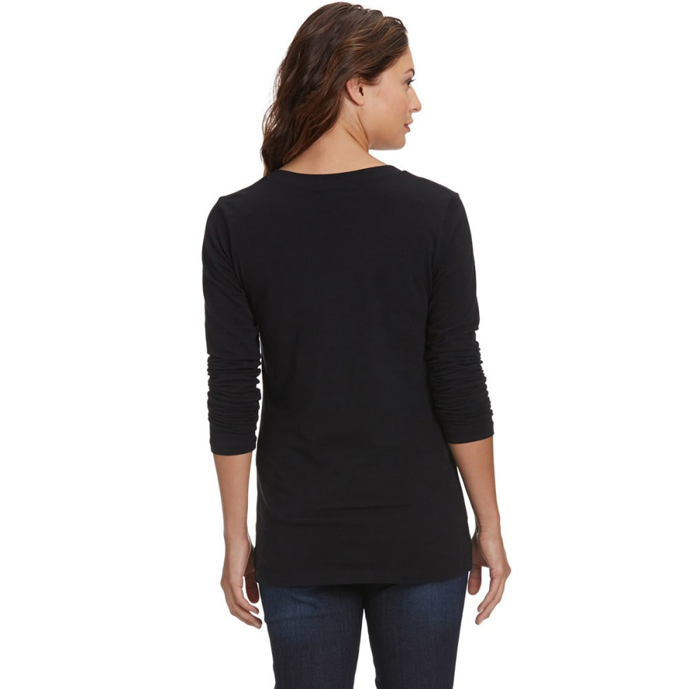 FEMME Women's Basic Long Sleeve V-neck Tee - BLACK
