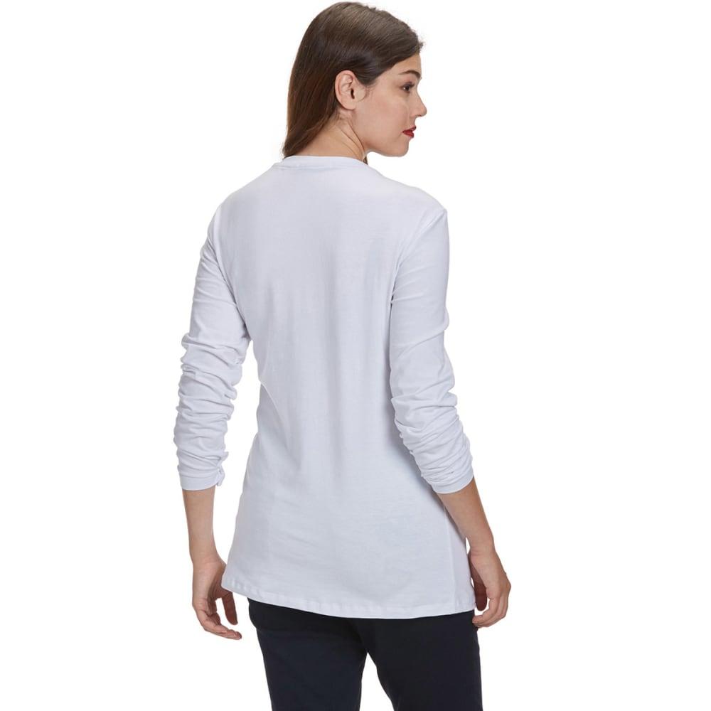FEMME Women's Basic Long Sleeve V-neck Tee - WHITE
