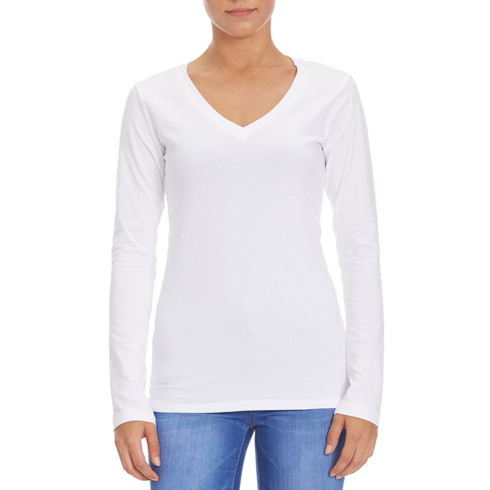 FEMME Women's Basic Long Sleeve V-Neck Tee M
