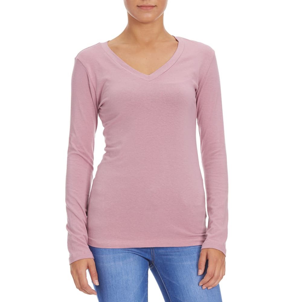 FEMME Women's Basic Long Sleeve V-neck Tee - DUSTY ROSE