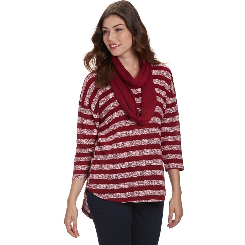ABSOLUTELY FAMOUS Women's Striped Snit Top with Scarf - WINE