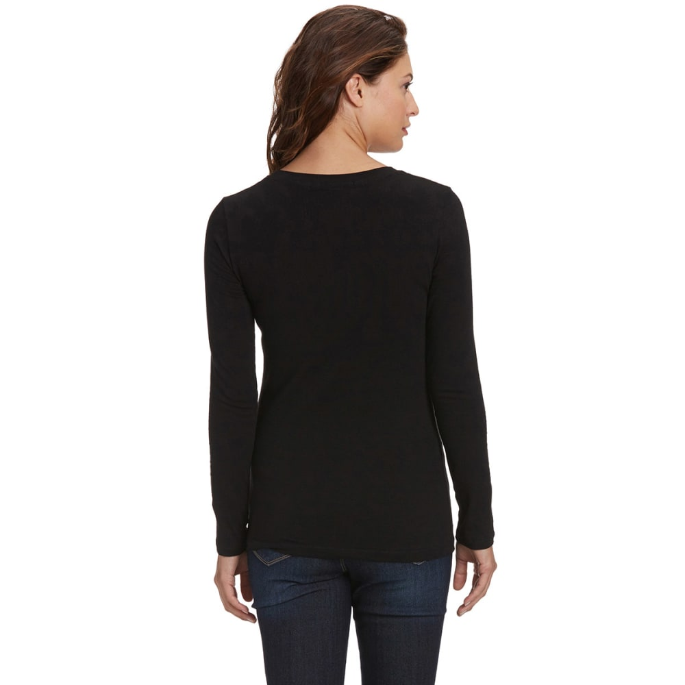 FEMME Women's Basic Long Sleeve Scoop Neck Tee - BLACK