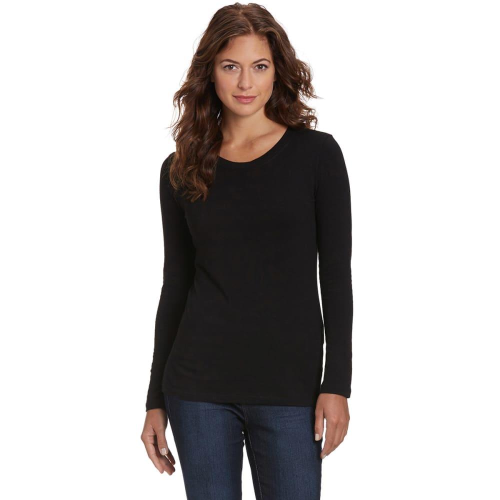 FEMME Women's Basic Long Sleeve Scoop Neck Tee - BLACK