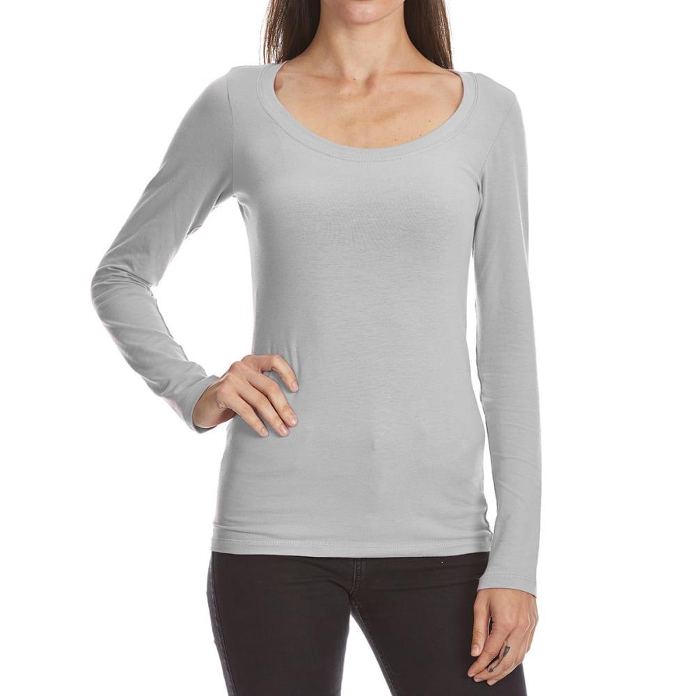 FEMME Women's Basic Long Sleeve Scoop Neck Tee S
