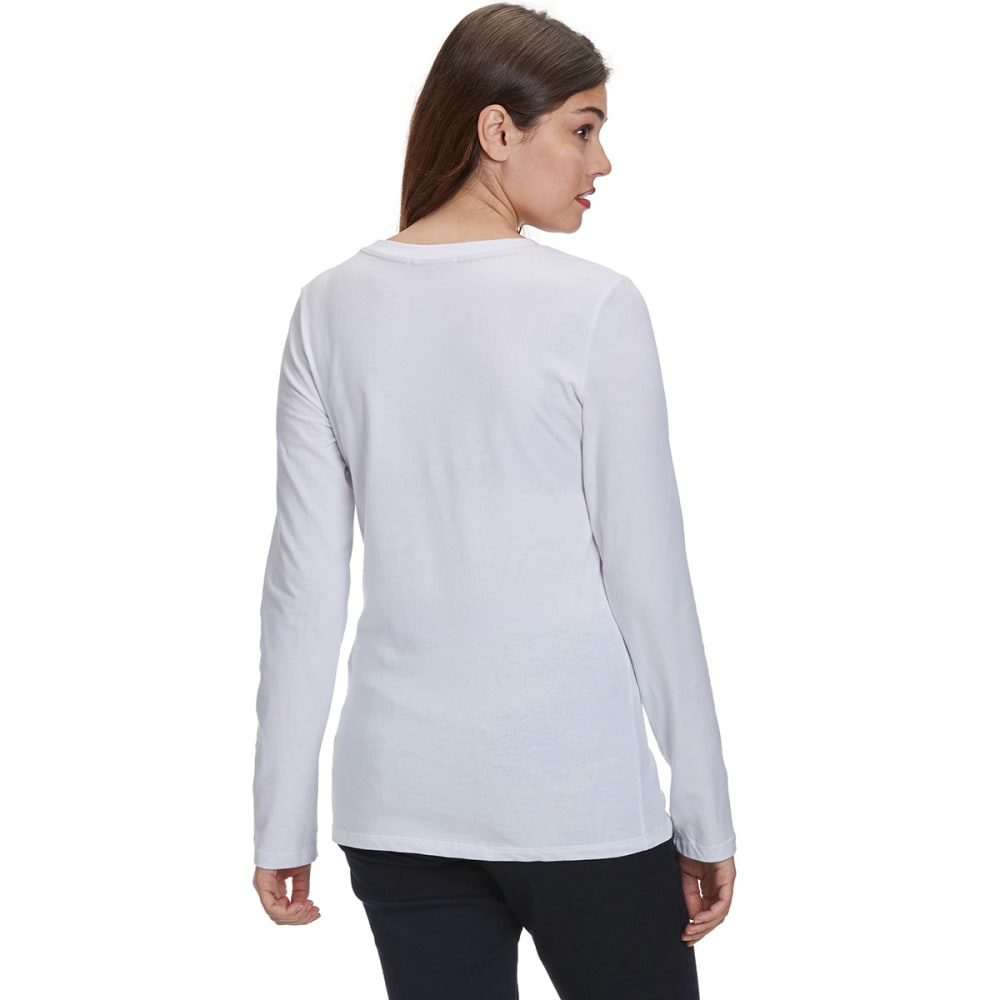 FEMME Women's Basic Long Sleeve Scoop Neck Tee - WHITE