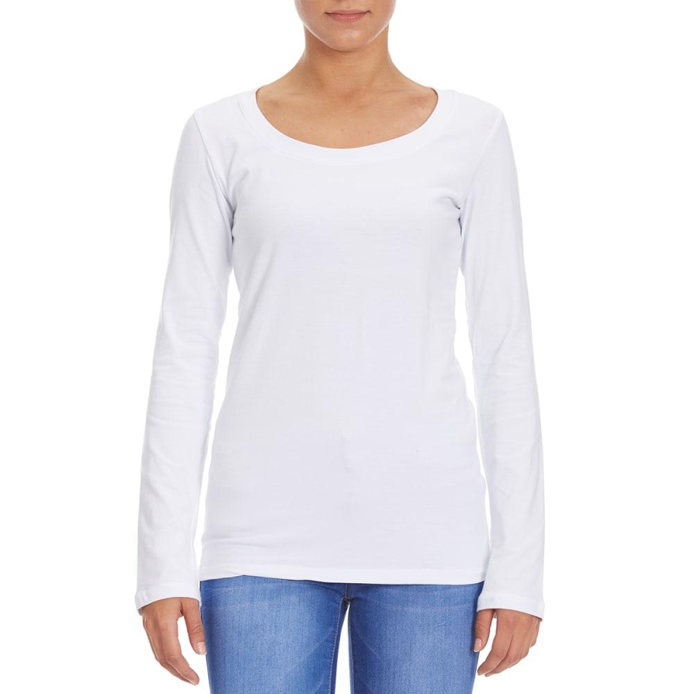 FEMME Women's Basic Long Sleeve Scoop Neck Tee - WHITE