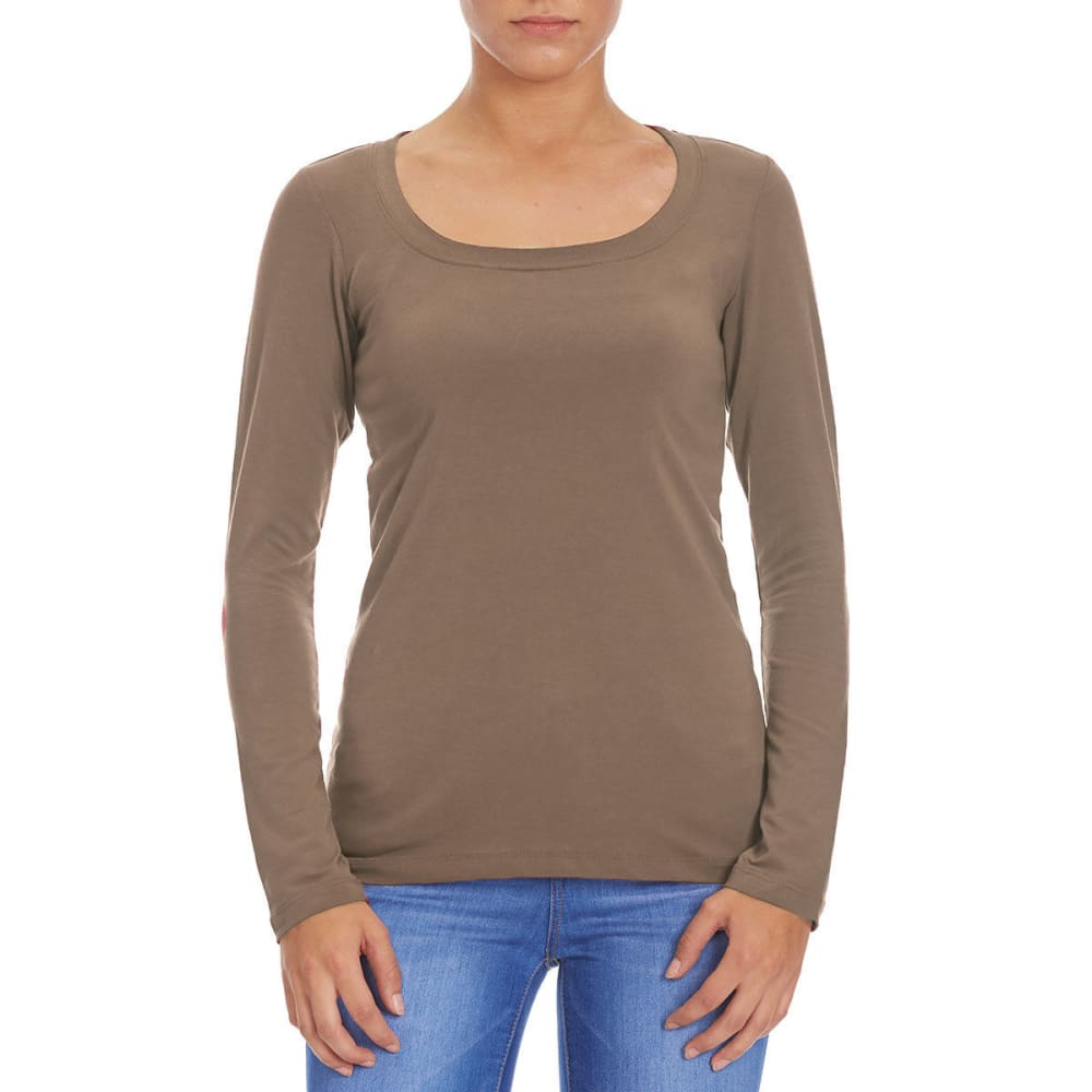 FEMME Women's Basic Long Sleeve Scoop Neck Tee - DARK COCOA