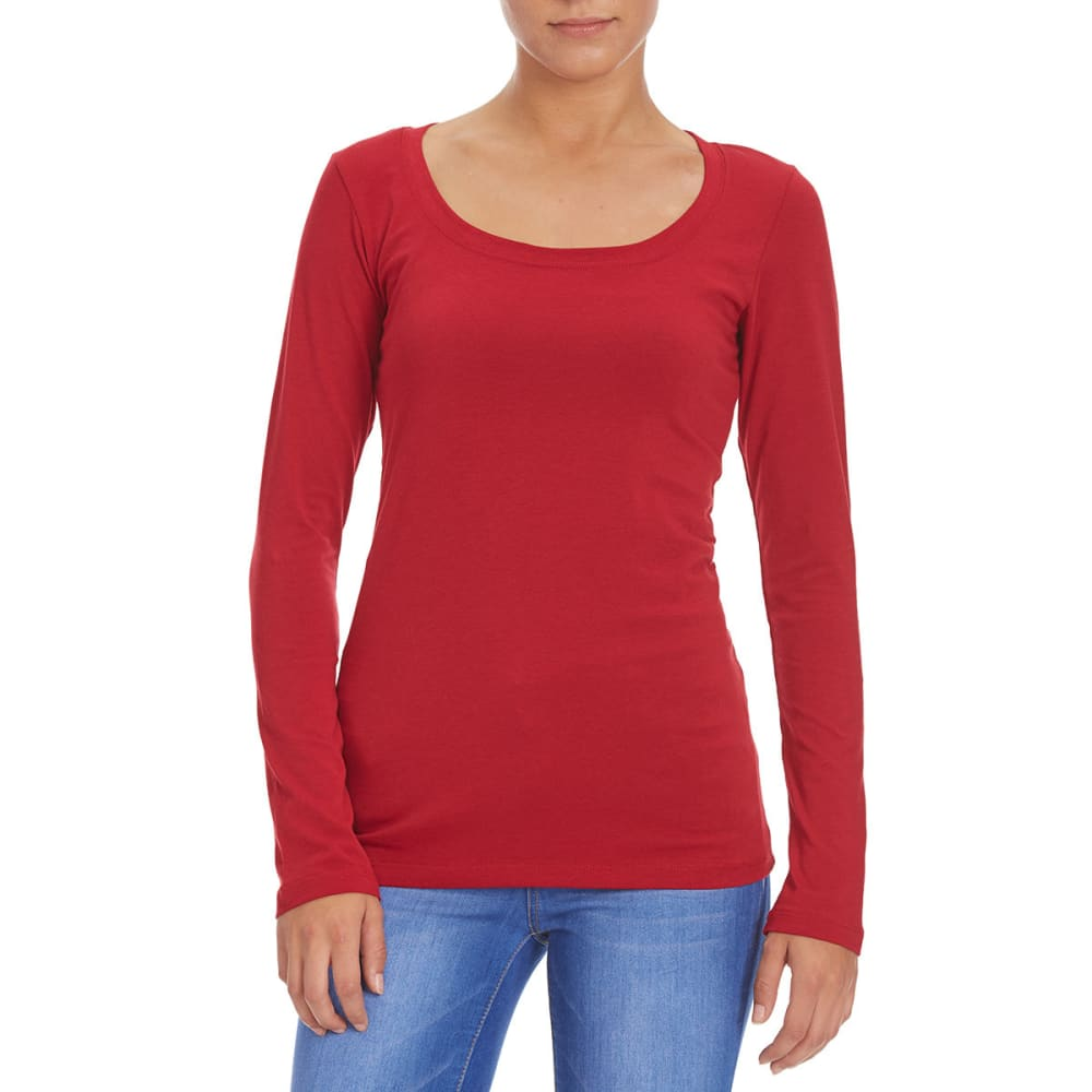 FEMME Women's Basic Long Sleeve Scoop Neck Tee - RED