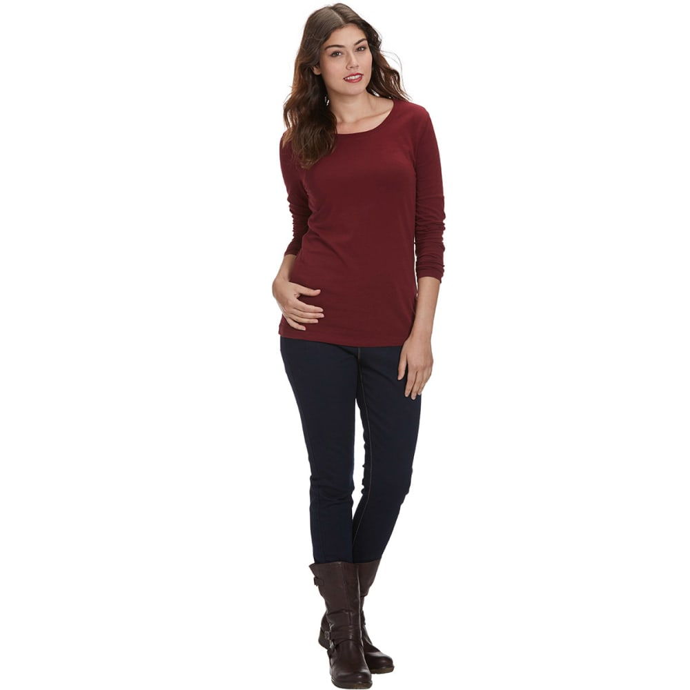 FEMME Women's Basic Long Sleeve Scoop Neck Tee - BURGUNDY