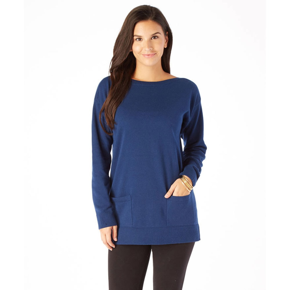 JEANNE PIERRE Women's Fine Gauge Tunic Sweater - OCEAN BLUE