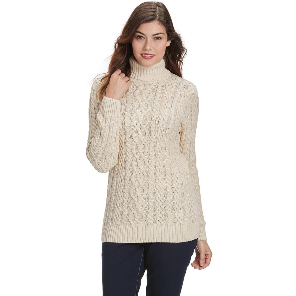 JEANNE PIERRE Women's Fisherman Turtleneck Sweater - BEIGE