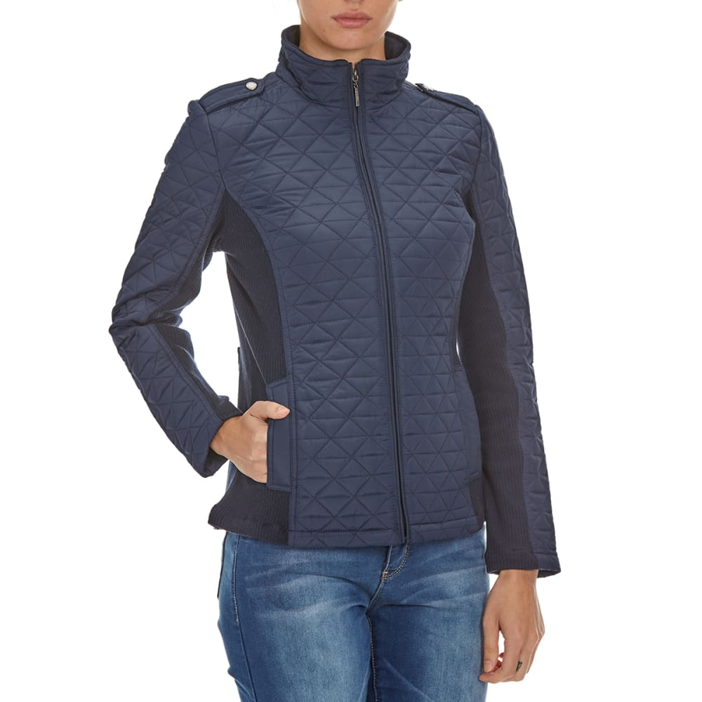 WEATHERPROOF Women's Quilted Zip-Up Jacket - NOON BLUE