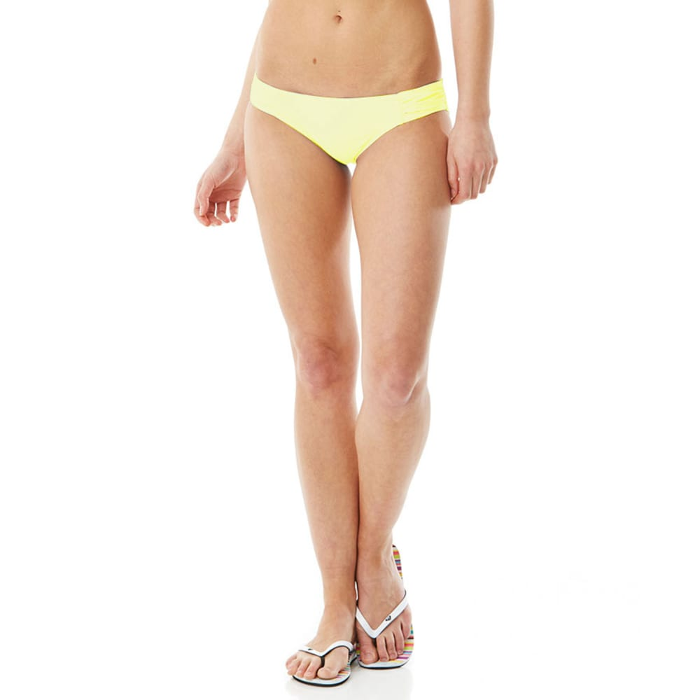 JAMAICAN STYLE Juniors' Extended Tap Brief Bottoms BLOWOUT - NEON YELLOW