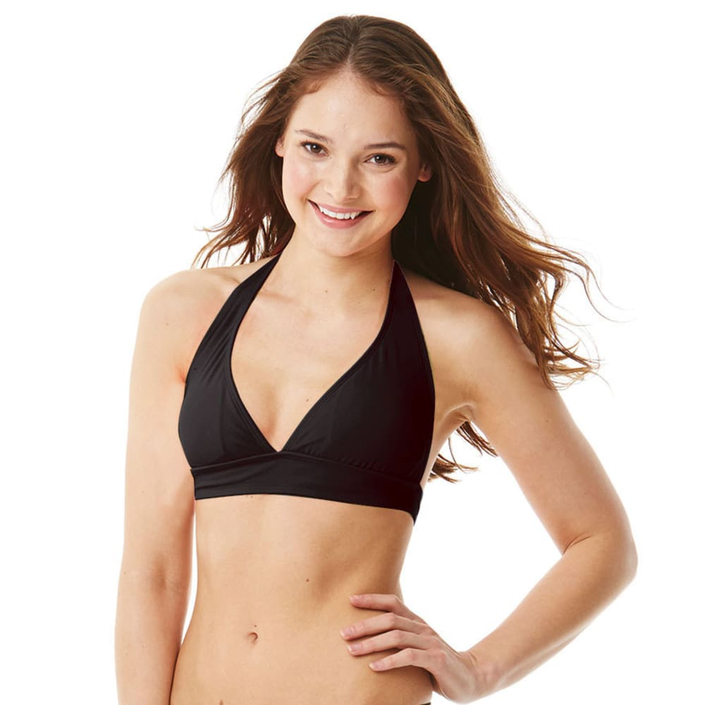 JAMAICAN STYLE Juniors' Solid Halter Wide Band Top - BLACK