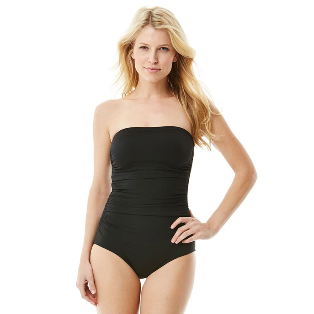 SOUTHPOINT Women's Black Shirred Bandeau One-Piece Swimsuit BLOWOUT - BLACK