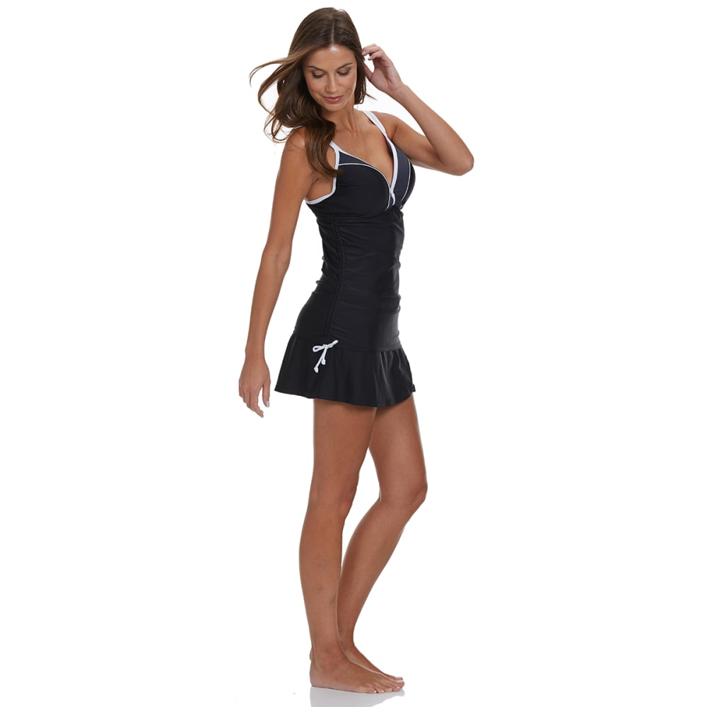 FREE COUNTRY Women's Colorblock Underwire Tankini Top - BLACK/GREY/WHITE