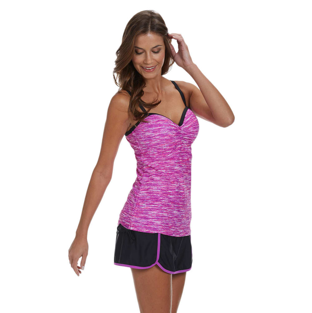 FREE COUNTRY Women's Melange Underwire Tankini Top - ORCHID/BLACK