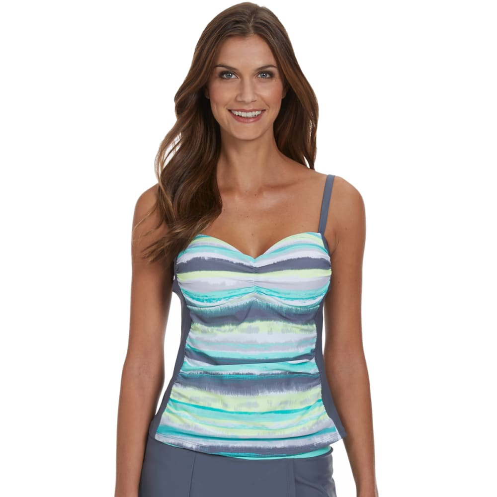 FREE COUNTRY Women's Paint Splash Underwire Tankini Top - SEAFOAM