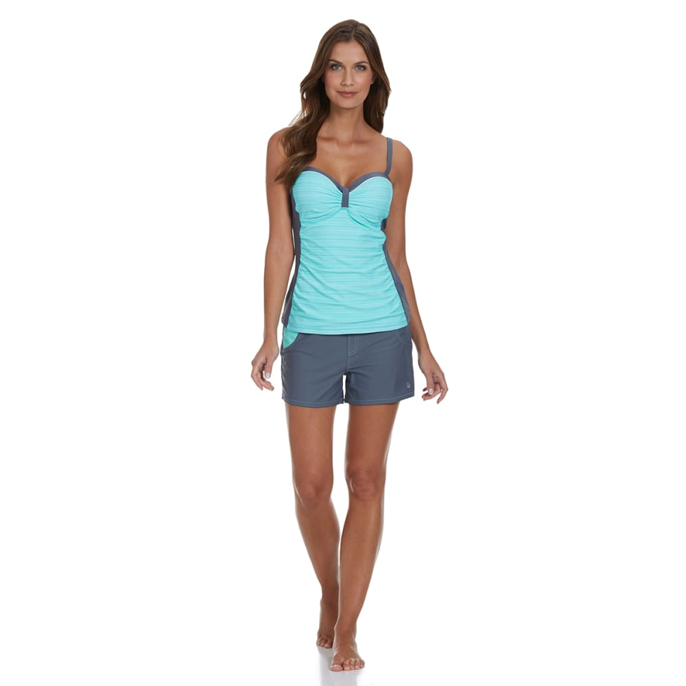 FREE COUNTRY Women's Side Panel Colorblock Underwire Tankini Top - SEAFOAM