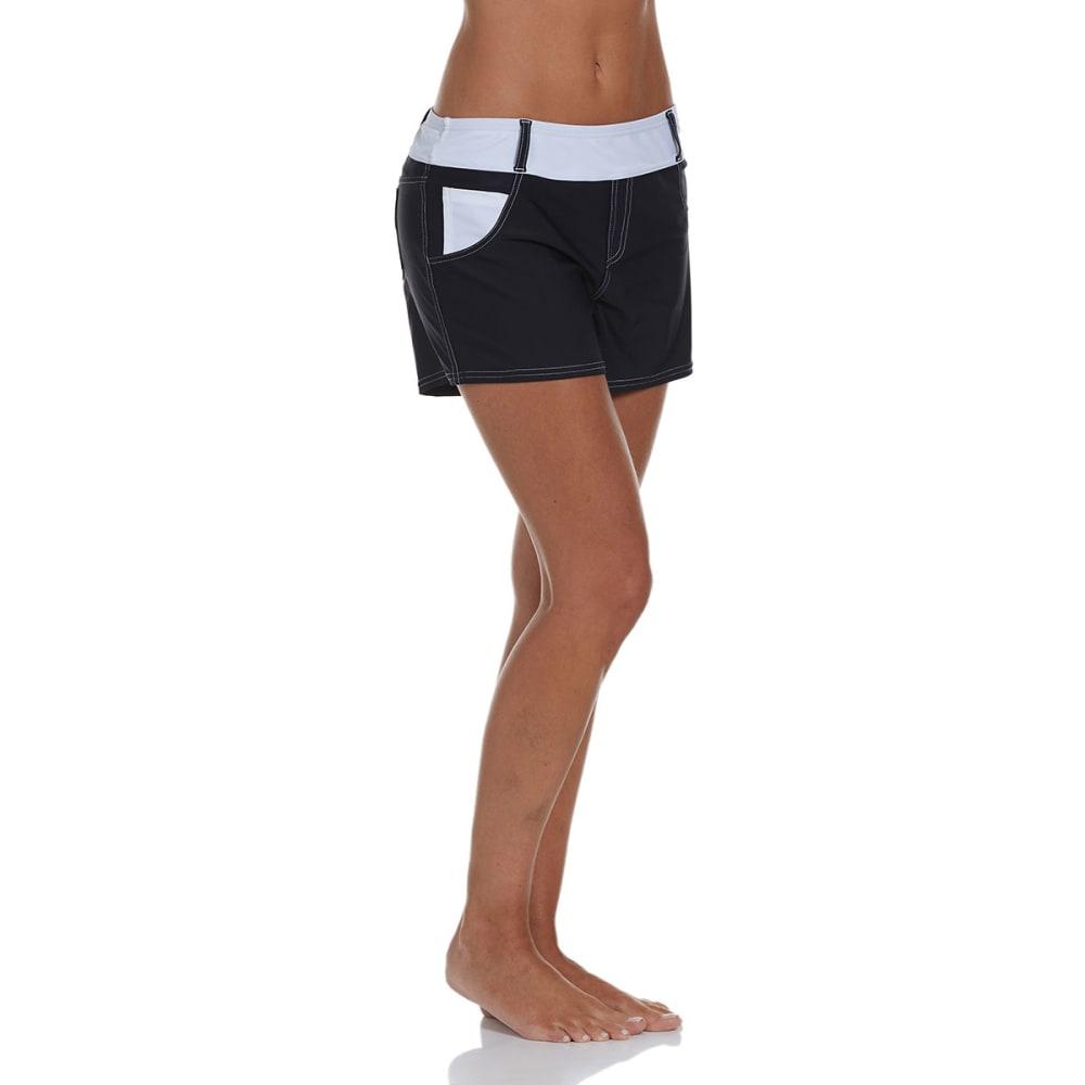 FREE COUNTRY Women's Jean Style Swim Shorts - BLACK/WHITE