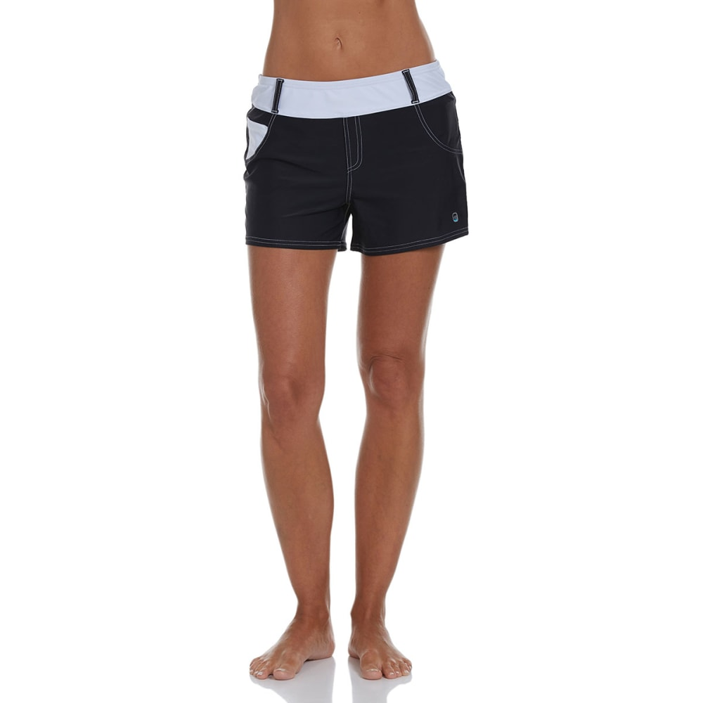 FREE COUNTRY Women's Jean Style Swim Shorts - BLACK/WHITE