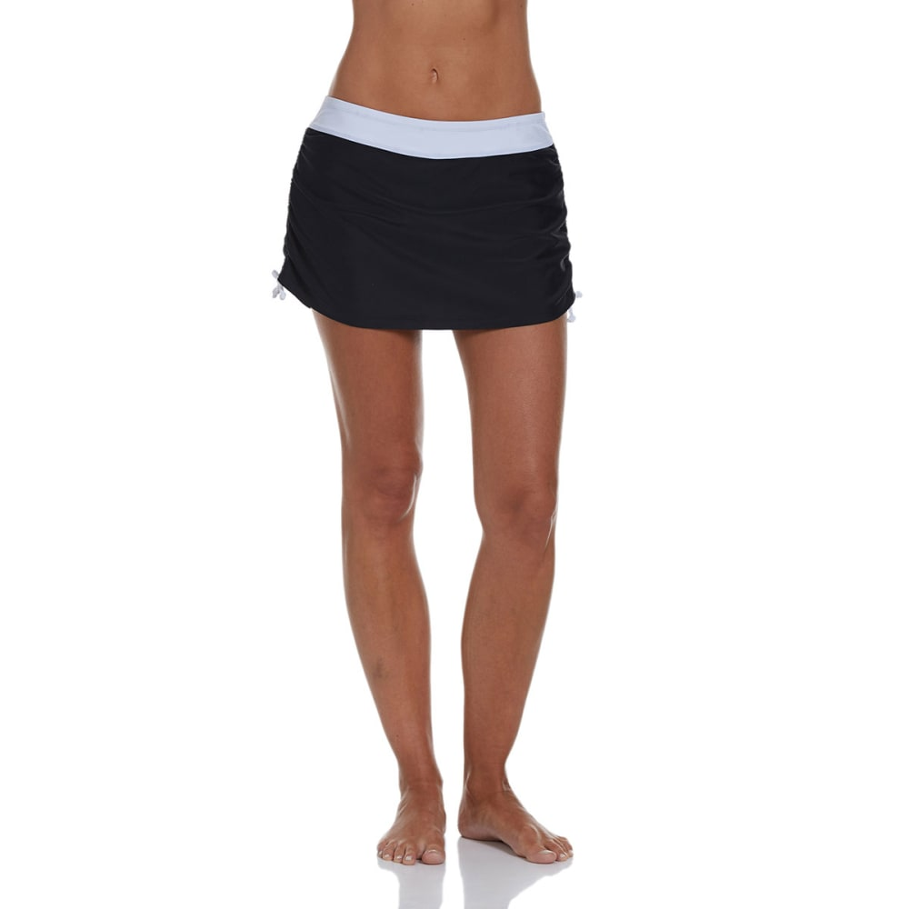 FREE COUNTRY Women's Ruched Skirtini Bottoms - BLACK/WHITE