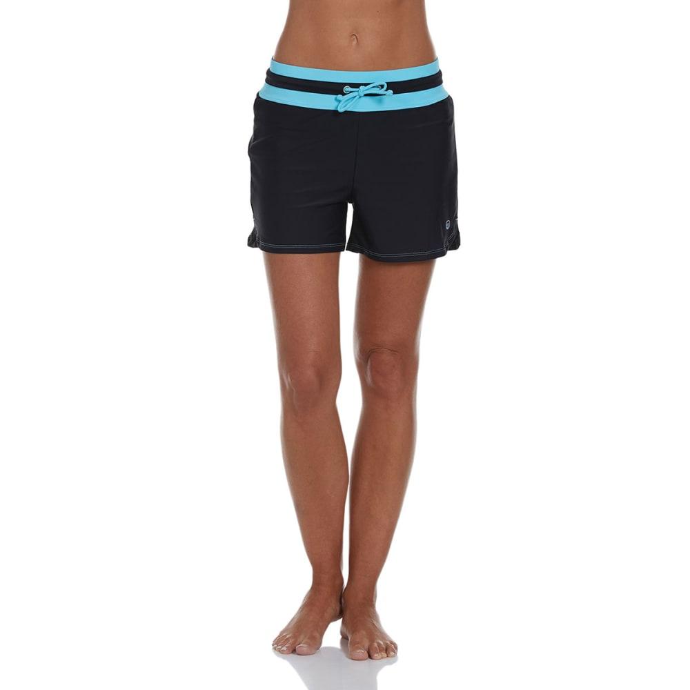 FREE COUNTRY Women's Drawstring Swim Shorts - BLK/WAV