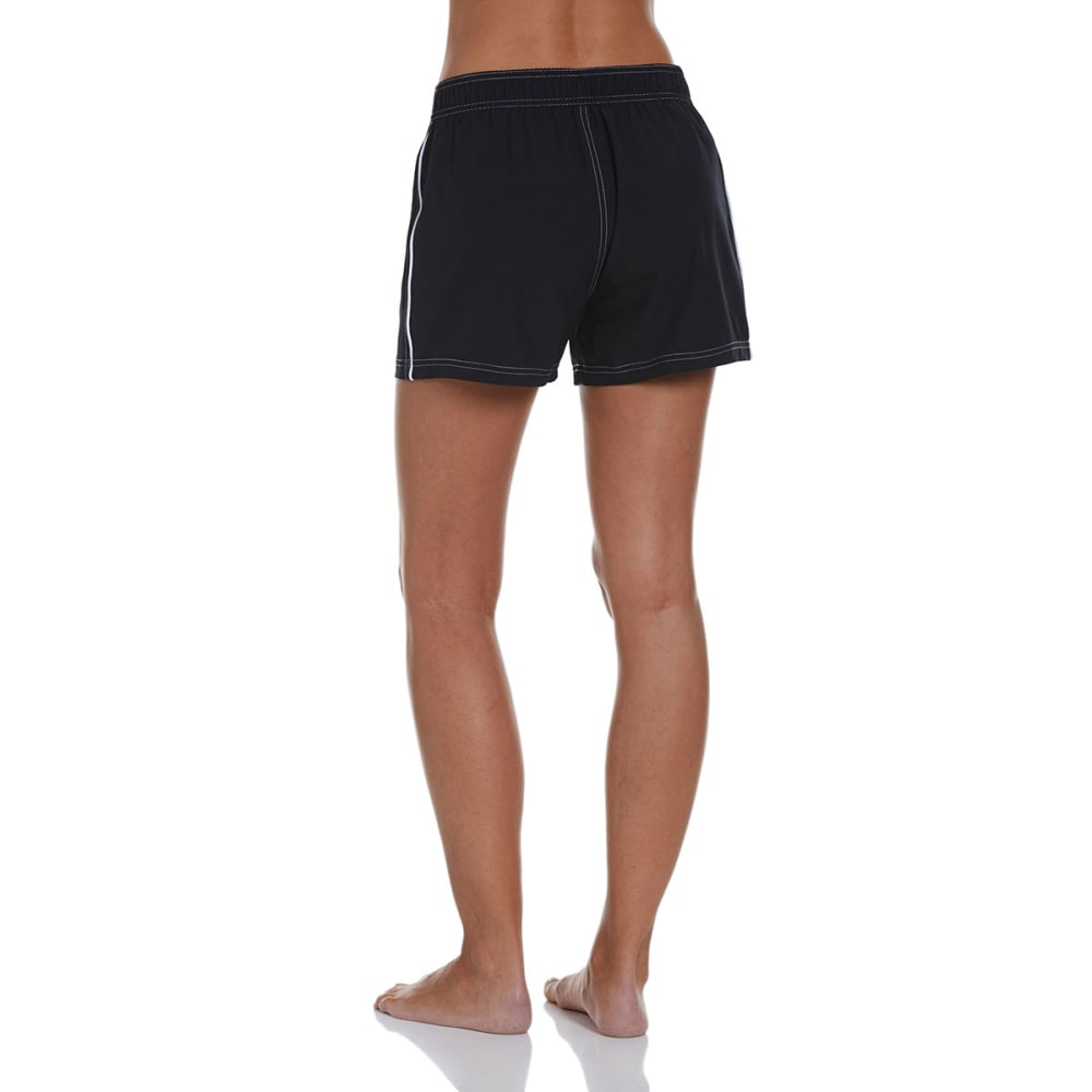 FREE COUNTRY Women's Woven Swim Shorts - BLACK/WHITE
