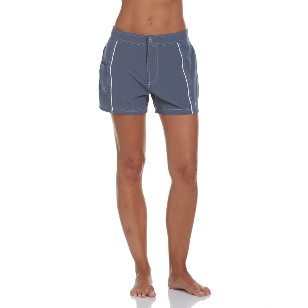 FREE COUNTRY Women's Woven Swim Shorts - WHITE/CLOUD