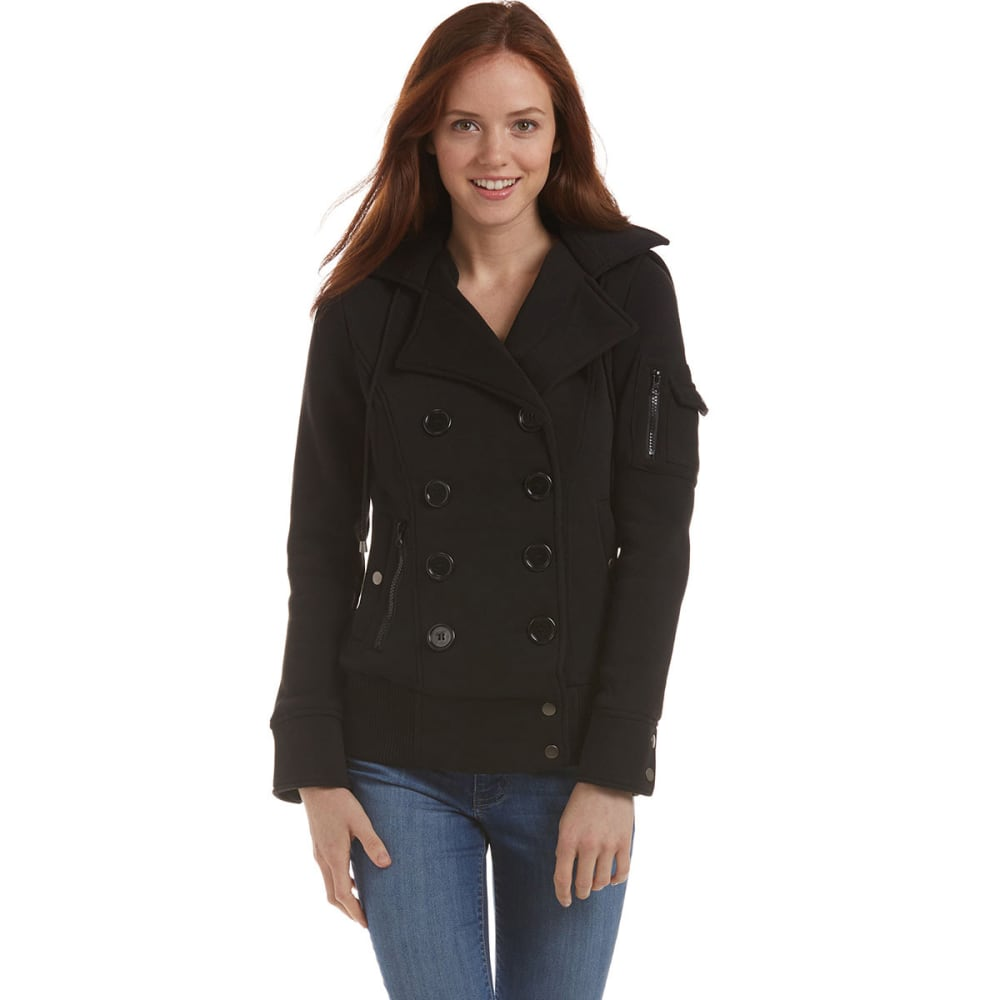 AMBIANCE Juniors' Double-Breasted Jacket - BLACK