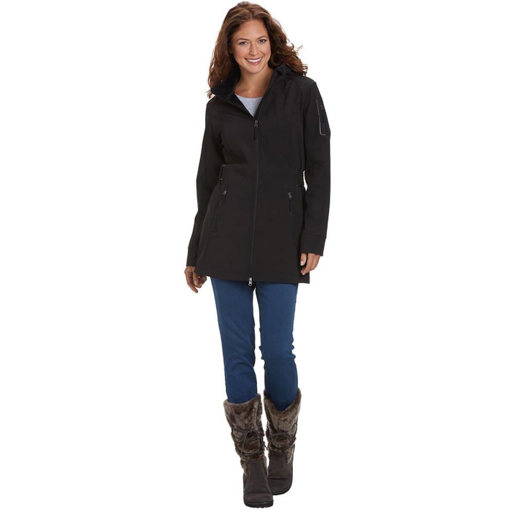 FREE COUNTRY Women's Softshell Side Tab Jacket - BLACK